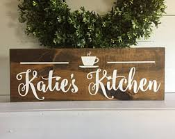 Personalized Kitchen Sign Coffee Cup Name Wood Wooden