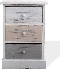 mobili schubladenschrank im landhausstil kommode mit 3 schubladen paulownienholz weiß beige grau im retro stil schlafzimmer bad maße