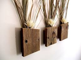 Set Of 3 Rustic Reclaimed Barn Wood Wall Vase Flower Sconce