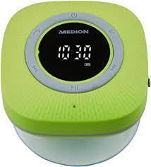medion p66096 duschradio mit bluetooth badradio ukw radio saugnapf led display ipx6 wasserdicht integrierter akku grün