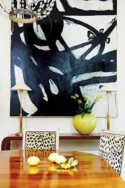 Black And White Abstract Art In Dining Room