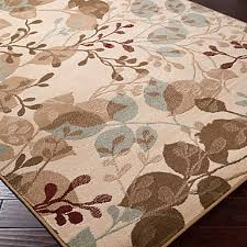Country Style Wool Tufted Area Rug With Leaves Pattern 5 8 In Rugs Architecture