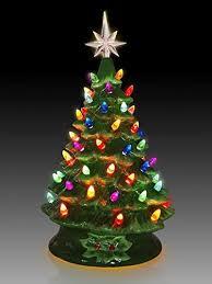 Ceramic Lighted Green Tabletop Christmas Tree Light Illuminated Trees