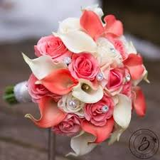 Coral wedding bouquet Calla lily bouquet wedding bouquet with
