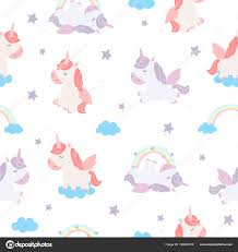 Vector Seamless Pattern Cute Unicorns Rainbows Wallpaper Adorable Objects Background Stock