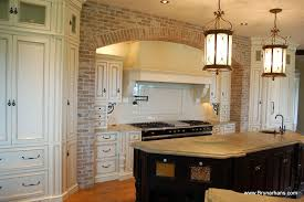 KitchenGorgeous Antique Kitchen Decoration With Exposed Brick Wall And White Cabinet Also Cream