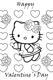 Cute Hello Kitty Happy Valentines Day Coloring Pages