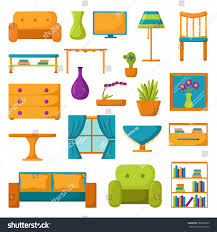 Living Room Interior Furniture Set Of Vector Cartoon Icons