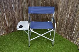 Aluminium & Canvas Directors Garden / Camping Chair With Side Table - Navy  Blue