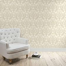 Metallic Tile Effect Wallpaper by Natural Scroll Damask Wallpaper Dunelm Lounge Pinterest