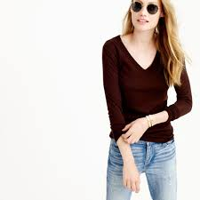 j crew merino wool v neck sweater in brown lyst