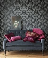 Grey And Purple Living Room Wallpaper by Living Room With Black Damask Wallpaper And Grey Sofa Decorate