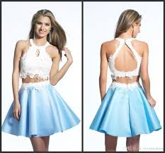 two piece short prom dresses white applique backless sext halter