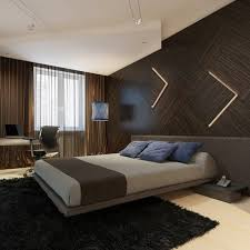 contemporary master bedroom with pendant light hardwood floors