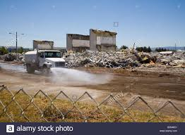 100 Demolition Truck Watering Down A Commercial Building Demolition Site Stock