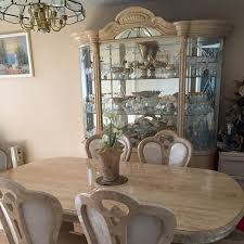 Perfect Dining Room Set With China Cabinet Italian Table 6 Chair And Bench Hutch Upholstered Leaf
