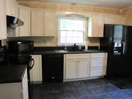 Kitchen Cabinets With Black Appliances Antique White