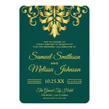 Elegant Turquoise Gold Damask Wedding Invitation elegant wedding