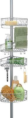 interdesign twigz teleskop duschregal mit handtuchhalter und haken hochwertige duschablage ohne bohren vierfacher duschkorb für mehr stauraum