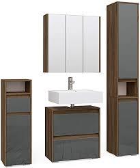 vicco badmöbelset majest badschrank nussbaum anthrazit hochglanz spiegelschrank komplettset