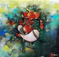 Lord Ganesha Multi Color Painting HD Image Wallpaper