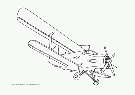 Airplane With Long Wings Coloring Pages For Kids Printable Airplanes