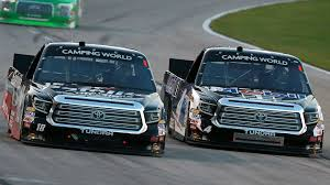 100 Truck Series Watch Kyle Busch Motorsports Teammates Crash Battling For Lead On