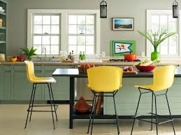 Bright Yellow Counter Stool Colorful Kitchen Decor Inspirations Light Green Flowers Vase Black Cylinder Hanging Pendant Dutch Oven Painting For