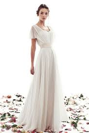 A Line Lace Up Simple Short Sleeves Vintage Wedding Dress