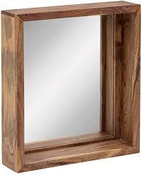 woodkings bad spiegel sydney holz rahmen badspiegel mit ablage wandspiegel badmöbel badezimmermöbel schminkspiegel akazie hell 56x65