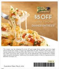 $5 off any two dinner entrees at Olive Garden coupon