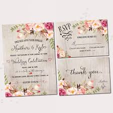 Rustic Wedding Invitations Printable Invitation Set Floral Bohemian Invite