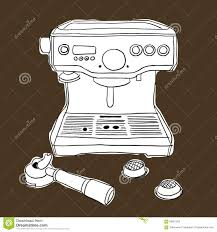 Streaming Coffee Machine Hand Drawing Illustration Style Vector