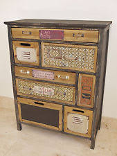 Item 1 Rustic Colourful Wooden Cabinet 8 Drawer Storage Compartment Vintage Text Plates