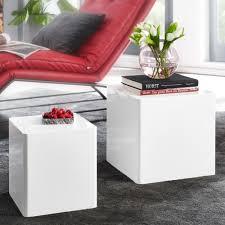 wohnling beistelltisch 2er set hochglanz weiß wohnzimmertisch kleiner anstelltisch eckig satztisch würfel modern design tisch wohnzimmer