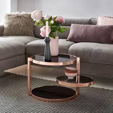 finebuy design couchtisch circle ø 45cm rund glas kupfer mit ablage wohnzimmertisch 3 ebenen glasplatte schwarz beistelltisch sofatisch tisch