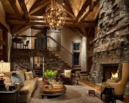 Rustic Living Room With Chandelier Colorado Gray Stack Stone Fireplace Loft