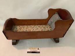 Antique Wooden Keystone, Boston Doll Cradle Bed Rocker W ...
