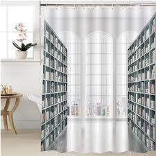 Amazoncom Gzhihine Shower Curtain Library Interior Design