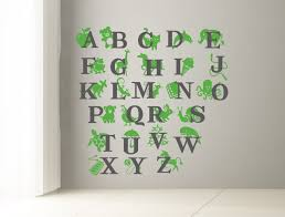 ABC Wall decal Alphabet decal for kids room Letters and animals