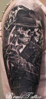 Fabulous Gangsta Skeleton With Car Tattoo On Right Half Sleeve