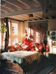 BedroomRustic Bohemian Bedroom Design With Grey Cozy Bed And Red Pillows Plus Small Dark