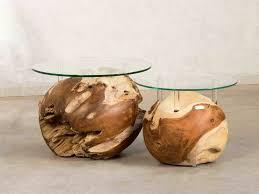 wurzel holz wohnzimmertisch aus teakholz mit glasplatte 2