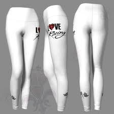 Love Racing Checkered Flag White Yoga Leggings Pants