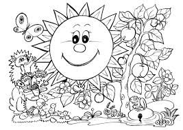Spring Coloring Pages SUNNY GARDEN
