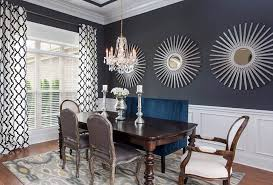 Black Paint Color Dining Room With White Wainscoting
