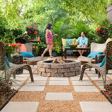 Pea Gravel Patio Ideas by Outdoor Space Paver Patio With Fire Pit