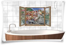 fliesen aufkleber fliesen bild fenster boote schiffe yacht gebäude felsen wasser meer antik bad wc aufkleber folie deko