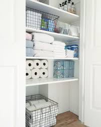 Organized Bathroom Closet | Bloggers' Best Home Tips And Tricks ... Bathroom Kitchen Cabinets Fniture Sale Small 20 Amazing Closet Design Ideas Trendecora 40 Open Organization Inspira Spaces 22 Storage Wall Solutions And Shelves Cute Organize Home Decoration The Hidden Heights Height Organizer Shelf Depot Linen Organizers How To Completely Your Happy Housie To Towel Kscraftshack Bathroom Closet Organization Clean Easy Bluegrrygal Curtain Designs Hgtv Organized Anyone Can Have Kelley Nan