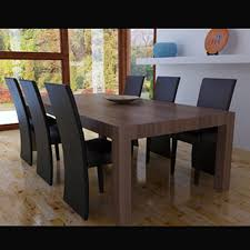 Brown Modern Kitchen And Synthetic Leather Dining Chairs, 6 Coffee Set -  LovDock.com